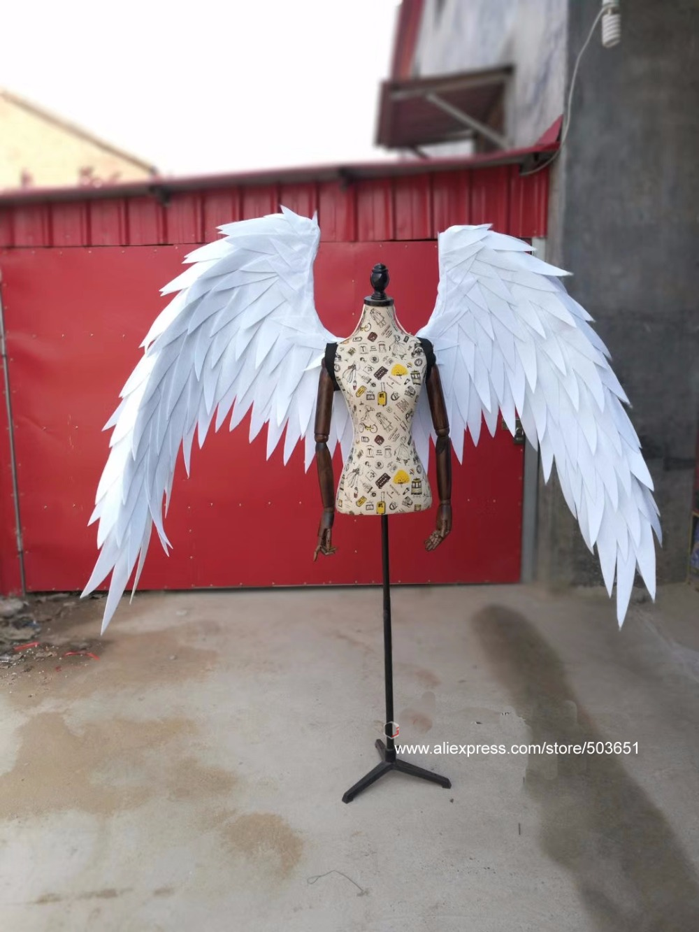 Pure white adult angel wings nice birthday gifts Grand even Garden DIY decorations props creative shooting items free shipping