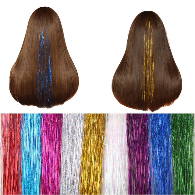 1pc Tinsel Hair Extensions Clip In Flareing Bling Hair Hair Styling