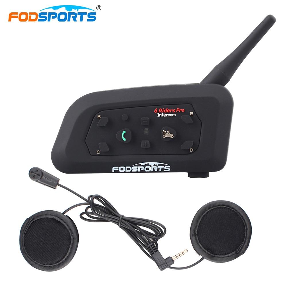 Fodsports ru на складе двигатель V6 Pro мотоцикл Bluetooth шлем Интерком-Гарнитура 6 гонщиков Домофонных 1200 м Мото с 7 языки руководство