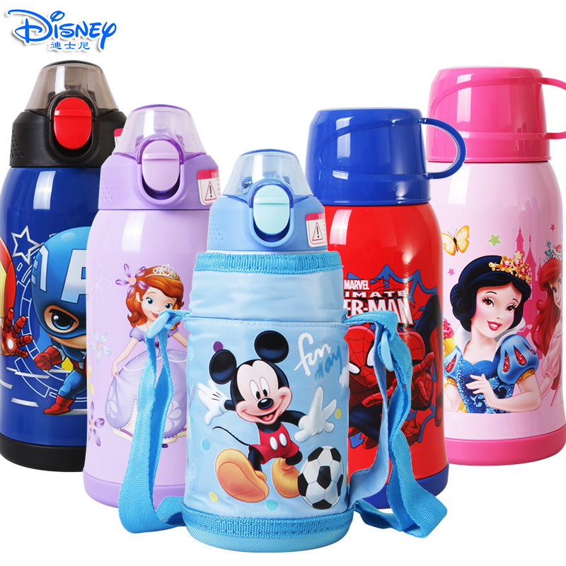 600ML Baby Insulated Mug Bottle With Two Lid Thermos Water Cup Feeding 2018 Winter Kid School Kettle Stainless Steel Thermal Cup sweet style round neck long sleeve printed pocket design cardigan for women