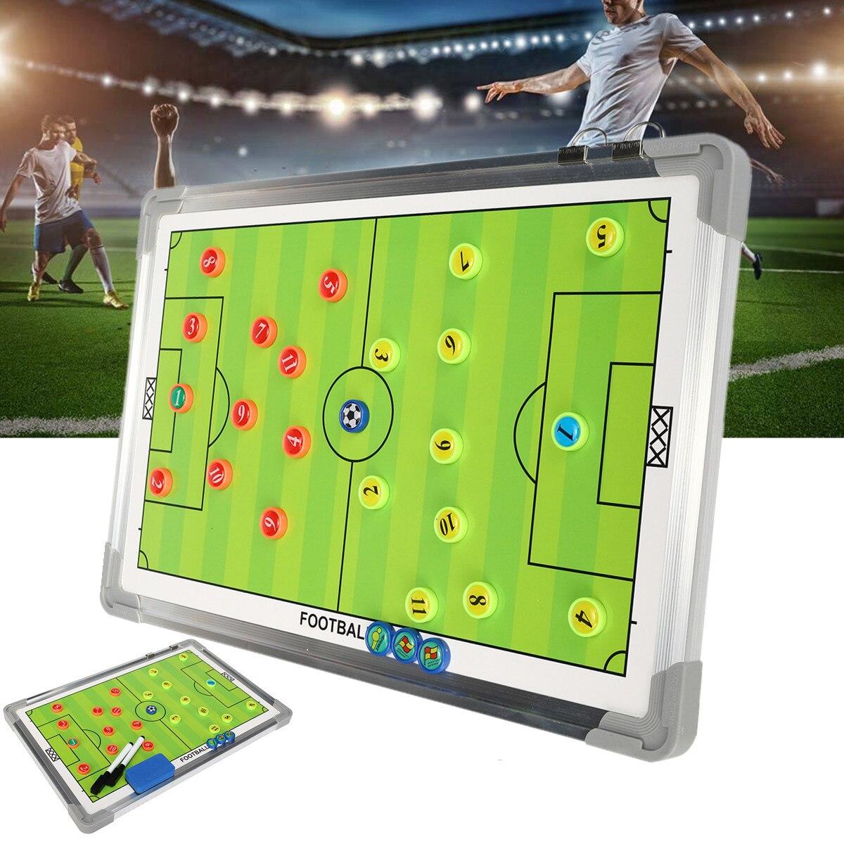 Romantisch Draagbare Voetbal Tactische Board 44.5x29.5x2 Cm Training Begeleiding Dubbelzijdig Magnetische Knoppen Aluminium Frame + Pvc