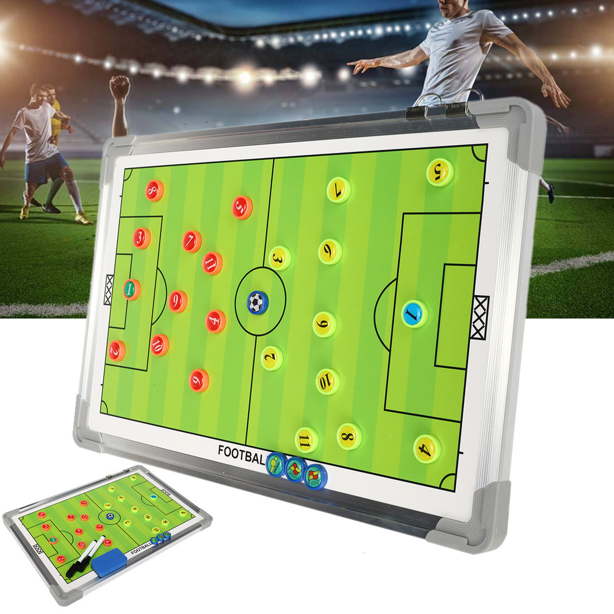 Soccer Teaching Board Football Tactical Board Training Guidance Double-Sided Magnetic For Tactic Drawing Or Noting Fold Leather