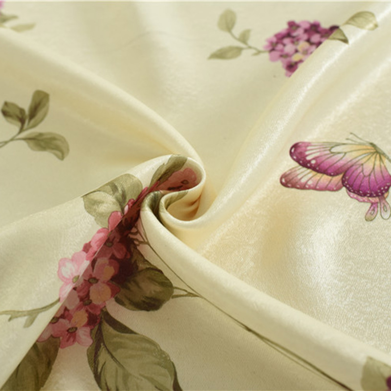 Romantic Butterfly Flowers Light Filtering Bedroom Curtains for Living Room Tulle Rustic Print Fabric Curtain Window Treatments