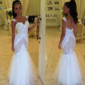 Cheap White Lace Wedding Dress Simple Vestidos De Noiva Women Wedding Gown Back Hollow Buttons Long Fashionable Tulle Mermaid
