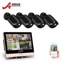 ANRAN 4CH система безопасности 12 дюймов ЖК дисплей монитор для домашней системы безопасности NVR комплект видеонаблюдения с (4) 1080 P ip камера наруж