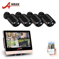 ANRAN 4CH Security Camera System 12 Inch LCD Monitor POE NVR CCTV Kit With (4) 1080P IP Camera Outdoor Video Surveillance System