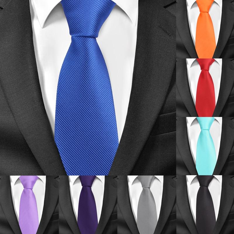 New Classic Solid Ties For Men Casual Skinny Neck Tie Gravatas Business Mens Neckties Corbatas 6 Cm Width Groom Tie For Party