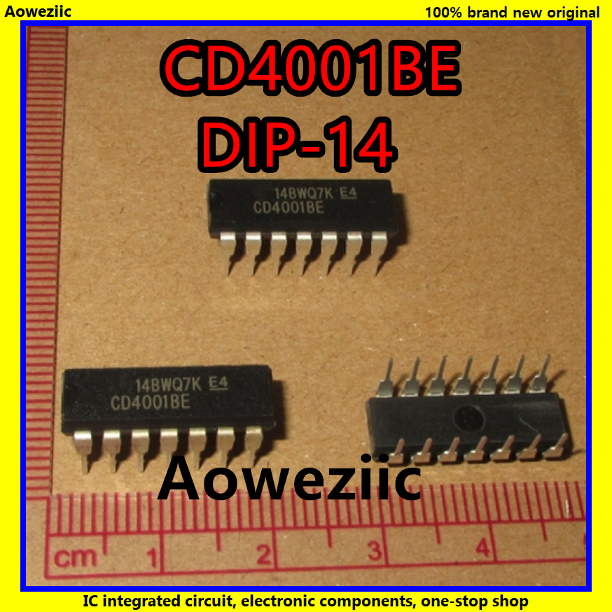 10Pcs/Lot CD4001BE CD4001 <font><b>4001</b></font> DIP-14 CMOS NOR Gates IC New image