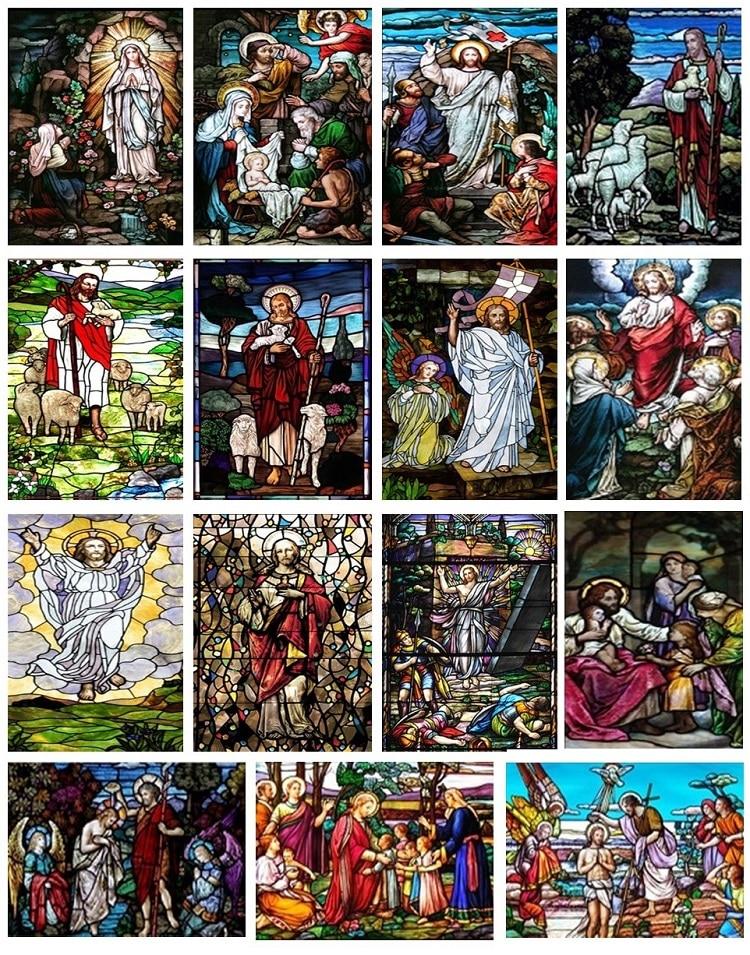 Nach Größe Christian Bilder Fenster Film Tür Aufkleber Wand Aufkleber Glas Dekor Kirche Jesus Selbst-adhesive Stained Opaque