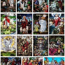 Door-Sticker Window-Film Self-Adhesive Jesus Pictures Glass-Decor Stained Opaque Church