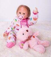 19inch Reborn silicone Baby Dolls creative baby simulation girl Toddler doll lol toys toy cloth body Birthday Xmas Gift