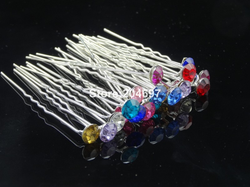 Feelgood 200pcs lot 8mm Multicolor Single Crystal Rhinestone Hair Pin Bridal  Haipins Hot Selling Wedding Hair Accessories -in Hair Jewelry from Jewelry  ... 41d0f905a011
