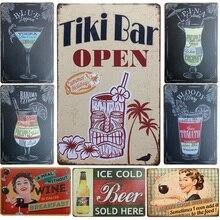 "Wine/Whiskey/Beer/Cocktail Vintage Home Decor Tin Sign 8""x12"" Metal Sign Bar/Pub/Garage Wall Decor Metal Plaque Metal Art Poster"
