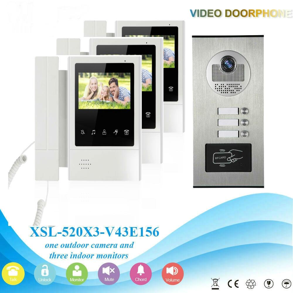 где купить SmartYIBA 3 Units Video Door Phone Doorbell Intercom Kit With 2pcs RFID Keyfobs Multi Apartment Building Video Intercom System по лучшей цене