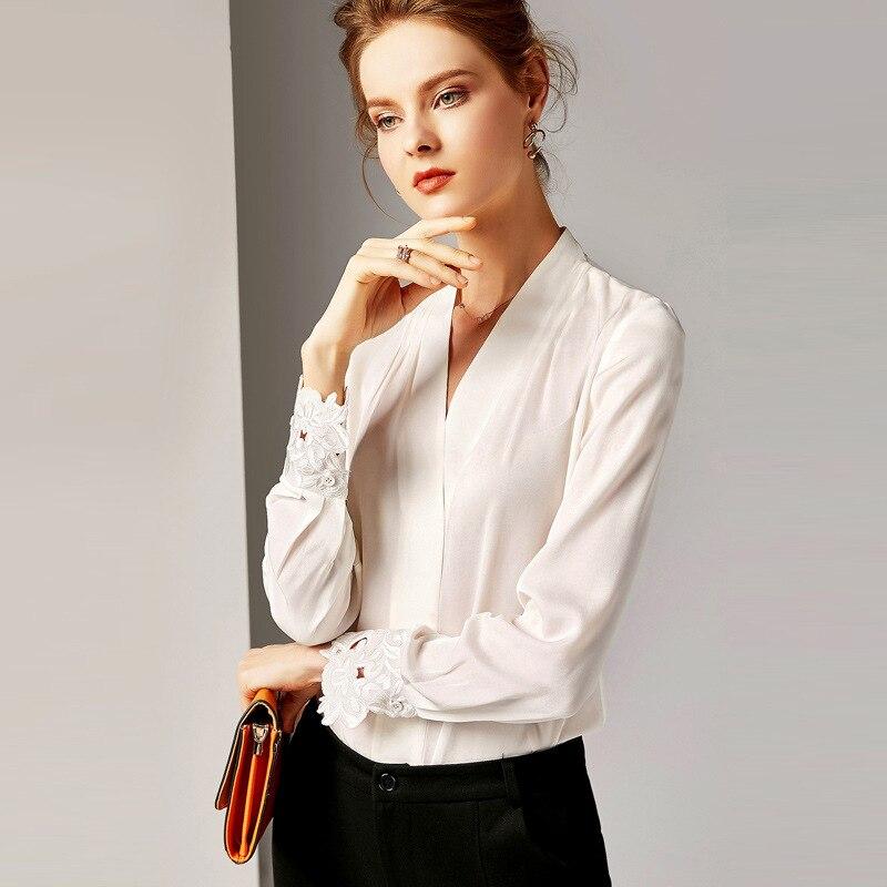 R10139 di Nuovo Modo 2019 Delle Signore Magliette e camicette Con Scollo A V a maniche lunghe Retro 100% di Seta Slaccia la Camicia Camicetta Abbigliamento Donna - 2