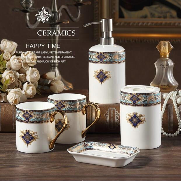 Buy luxrious bone china 5 pieces bathroom - Where to buy bathroom accessories ...