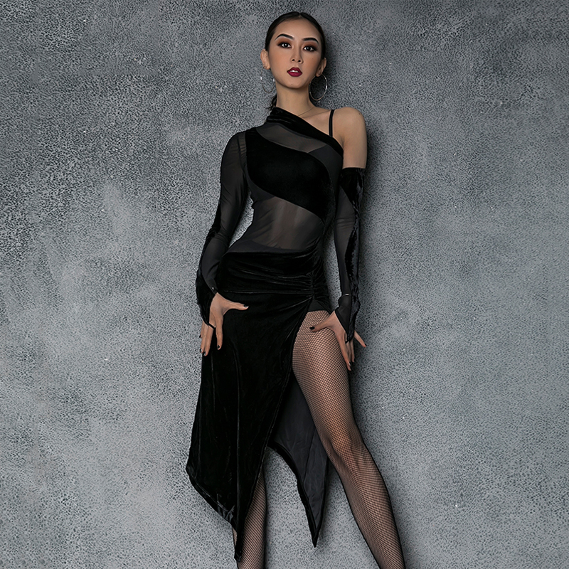 Black Latin Dance Dress Sexy Lycra Ballroom Dance Competition Dresses Women High Splitting Dance Wear For