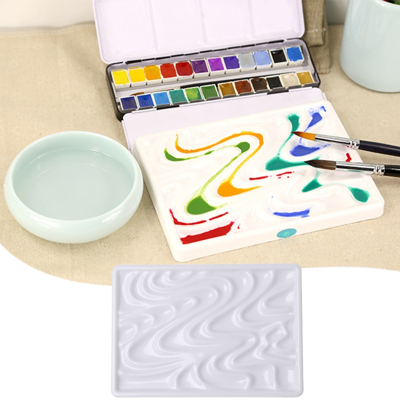 Painting Tray Imitation Ceramic Watercolor Paint Palette Professional Artist's Drawing Palette for artist professional 10 well round artist watercolor paint mixing palette tray white color