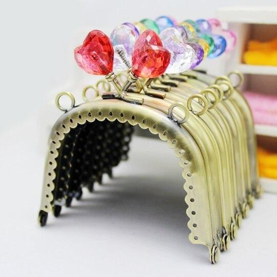 Mutter & Kinder 10 Teile/los 7,5 Cm Candy Herzförmigen Kristall Diamond Head Grüne Bronze Metall Spitze Geldbörse Rahmen Kuss Schließe Fk41 Freeshipping