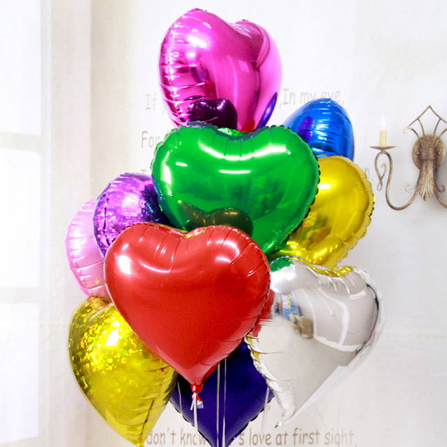 5pcs Lot Heart Ballons 10inch Event Shaped Foil Balloon Large Love Wedding Happy Birthday Party