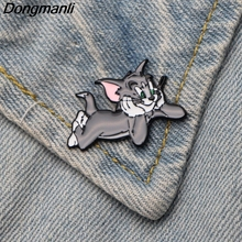 DMLSKY Tom Cat Brooch Cartoon Cute Animal Enamel Pins For Kids Girl Backpack Personality Collar Pin Accessories M2785