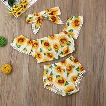 Лидер продаж, детские топы с цветочным принтом и подсолнухом для новорожденных девочек, повязка на голову, комплект детской одежды из 3 предметов, костюм с кисточками для маленьких девочек