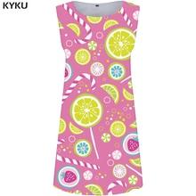 KYKU Candy Dress Women Graphics Sundress Lemon Sexy Ladies Purple 3d Print Dresses Elegant Office Womens Clothing Summer New