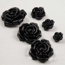 8 шт./лот, романтические пуговицы для шитья черной розой, пуговицы для рукоделия, пуговицы для скрапбукинга одежды 15-38 мм(ss-1412
