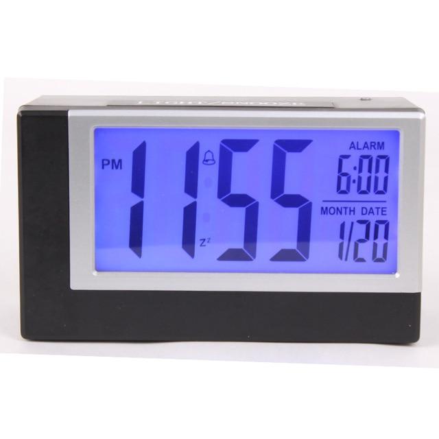 af2e56f9c280 Gran pantalla electrónica calendario Despertador con LumiNova y termómetro  estudiante inteligente Snooze reloj despertador digital Reloj