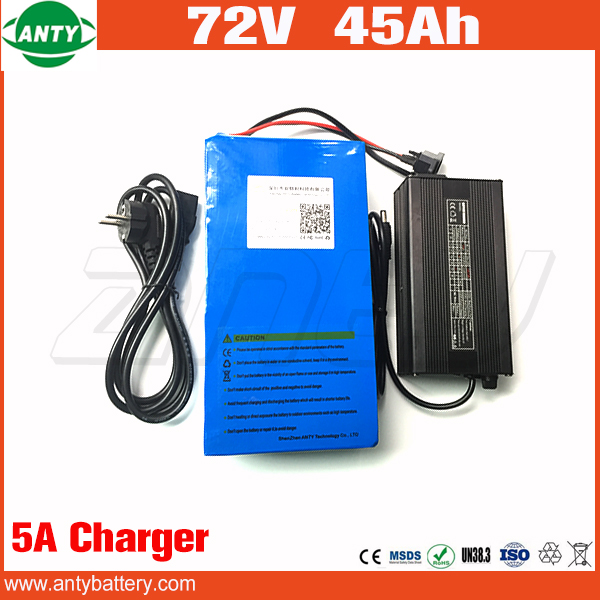 Electric Bike Battery 72v 45Ah Lithium Battery 72v Built in 50A BMS 2800w with 84v 5A Charger eBike Battery 72v Free Shipping