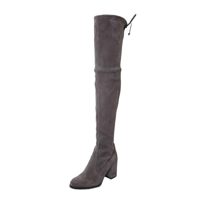 THEMOST Nieuwe dames Suede Sexy Fashion over de knie-laarzen Big size 33-45 Mode met warme pluche handgemaakte laarzen van hoge kwaliteit