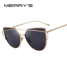 MERRY'S Hot Sale Fashion Cat Eye Sunglasses Women Classic Brand Designer Female Twin-Beams Coating Mirror Flat Panel Lens S'7882