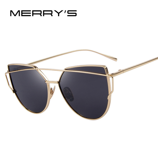 6aa29749619 MERRY S Hot Sale Fashion Cat Eye Sunglasses Women Classic Brand Designer  Female Twin-Beams Coating Mirror Flat Panel Lens S 7882