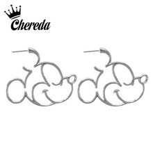 Chereda Cute Sweet Mickey Design Stud Earring for Women Girl Cartoon Hollow Heart Cross Earrings Brincos sweet print and cartoon design satchel for women
