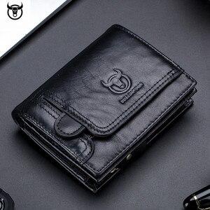 Image 1 - Cartera de cuero genuino para hombre, cartera masculina de diseño con cremallera, cartera para tarjetas y monedas de lujo