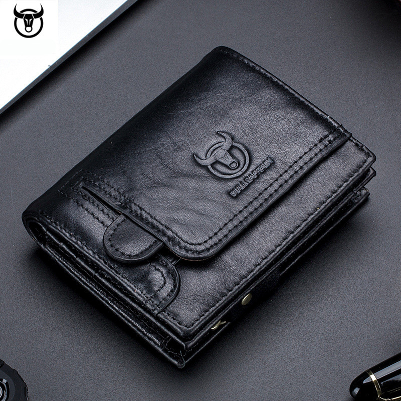 Infiniti Black Bifold Wallet Genuine Leather with 6 Credit Card ID Holder Men