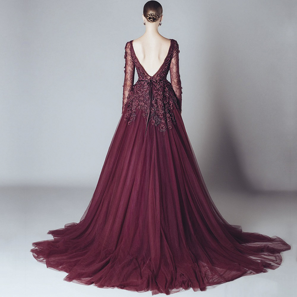 5dff8b223fc3 HUIFANY New Hot Burgundy Long Sleeves Backless Haute Couture Evening  Dresses 2017 Lace Exquisite Evening Gowns robe de soiree-in Evening Dresses  from ...