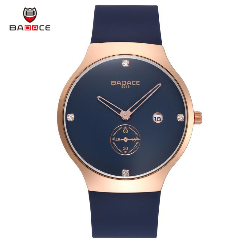 BADACE 2017 Top Brand Wrist Watch Men Durable Silicone Strape Sports Quartz-Watch Simple Leisure Clock Male Thin Analog Watch fashion top gift item wood watches men s analog simple bmaboo hand made wrist watch male sports quartz watch reloj de madera