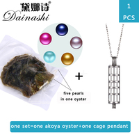 Dainashi New Arrival 1pcs Oyster Pendant Set ,1Love Wish Akoya Pearl Oyster+ 1 Cage Pendant + 1 Chain,Five Pearls In One Oyster