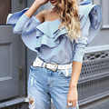 Good Quality 2017 Newest Designer Blouse Women Off the shouder Ruffles Striped Casual Blouses Tops