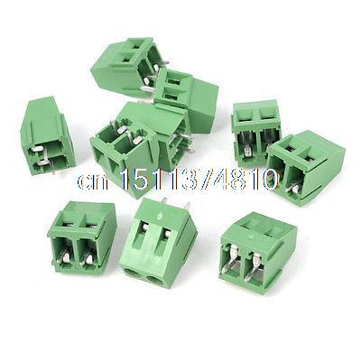 300V 10A 2 Way Pin 5mm Pitch PCB Mounted Screw Terminal Block Green 10Pcs 10 sets 5 08 3pin right angle terminal plug type 300v 10a 5 08mm pitch connector pcb screw terminal block free shipping