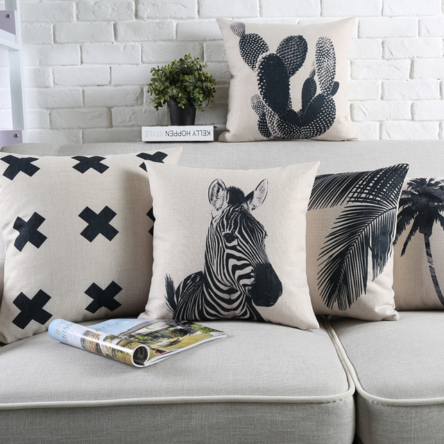 2017 ON SELL Modern Style Throw Pillow Black And White Chair Cushion Zebra  Cactus Pattern Cushion