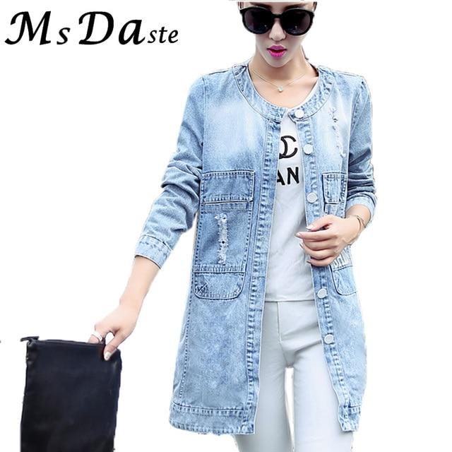 4804c34776a 2017 Autumn Women Plus Size Long Denim Jackets Coats Casacos Jeans Jackets  Casual Overcoat Jaqueta Feminina Chaqueta Mujer S~4XL