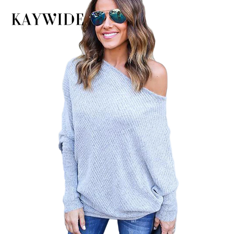 KAYWIDE 2016 Autumn Women Tops Series Off Shoulder Crop Tops Long Sleeve Knitted Thin Sweater Tees