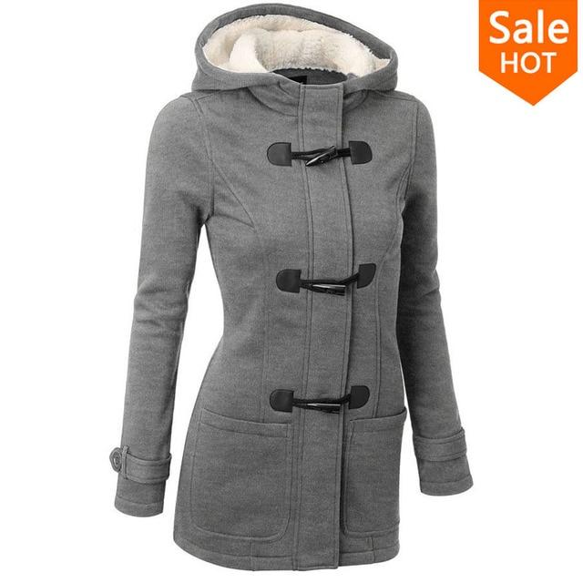 Winter Jacket Women Hooded Winter Coat Fashion Autumn Women Parka Horn Button Coats Abrigos Y Chaquetas Mujer Invierno