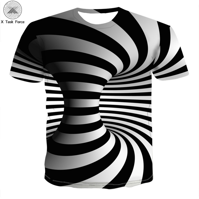Male 3d   t     shirt   Fashion Black Top Dress   t  -  shirt   Cool Plaid 3d Hip Hop White   t     shirt   Geometry Tees Plus Size S-6XL X Task Force