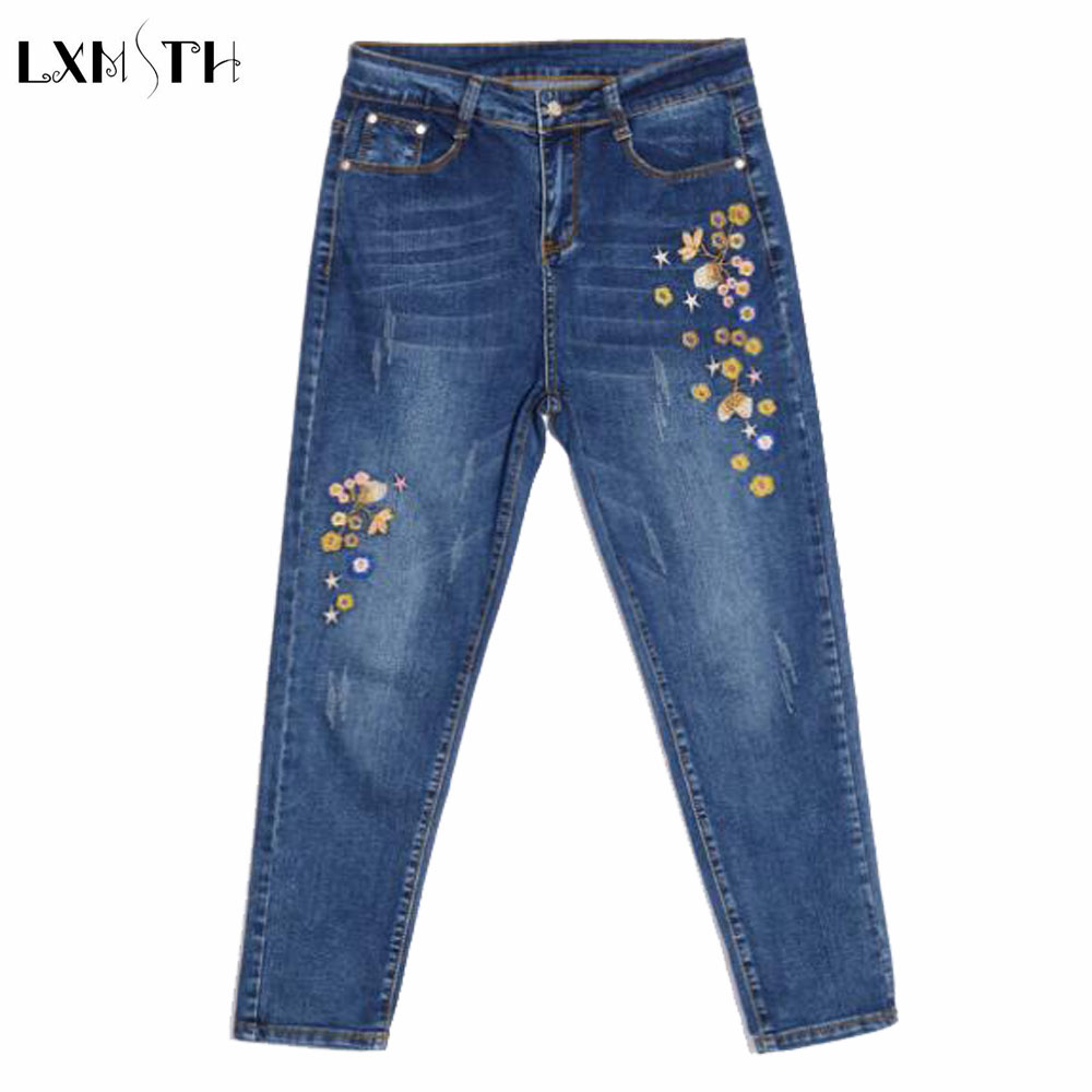Ladies Embroidered jeans 2017 Spring New Slim Pencil Pants jeans High Waist Ankle Lengt Pants For Women Fashion Denim Trousers 2017 spring new embroidered jeans color embroidered national wind low waist jeans trousers