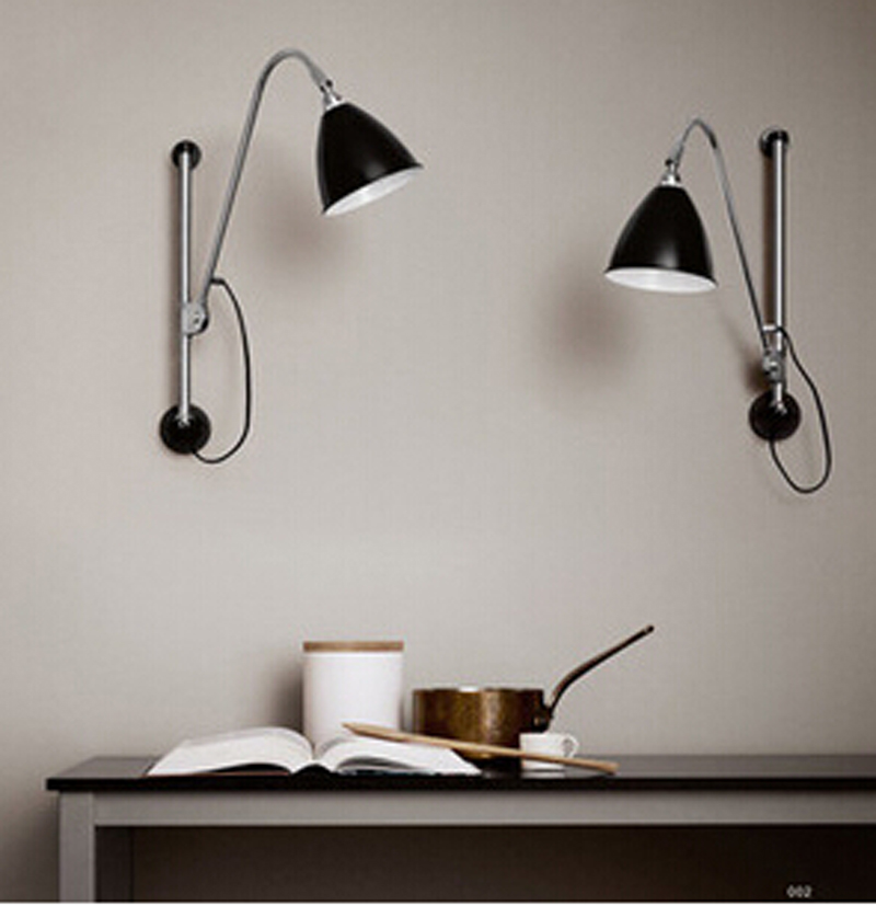 Modern Brief E 14 Black Iron Swing Arm Wall Lamp Lights Ikea Fashion Reading Lamps For Bedroom W3 In From Lighting On