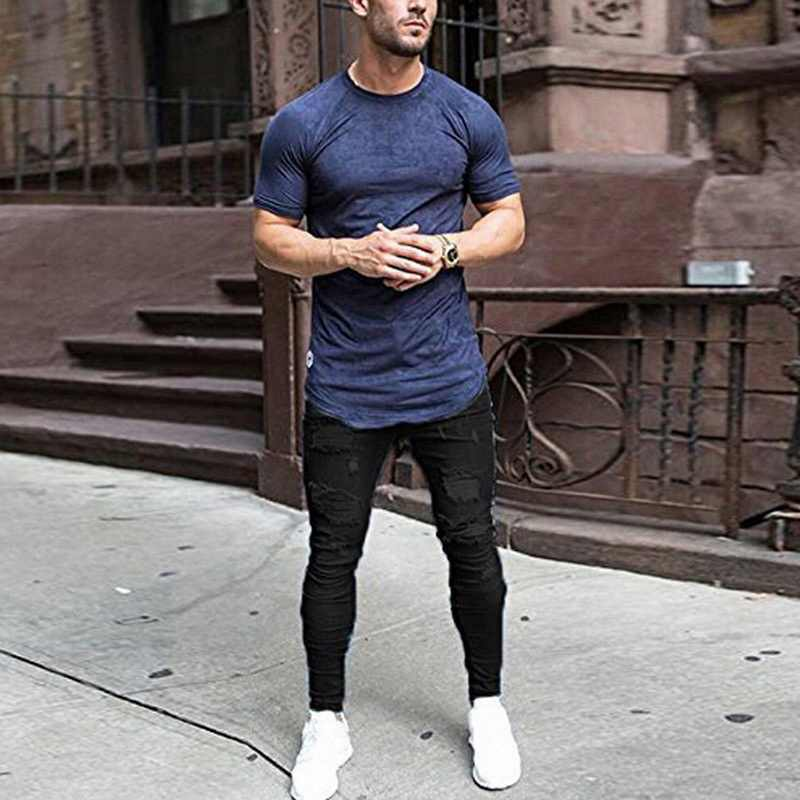 SHUJIN Mens  Ripped Jeans Casual Jeans Trousers Male Denim Black Stretch Pencil Jeans Pants Plus Size Streetwear