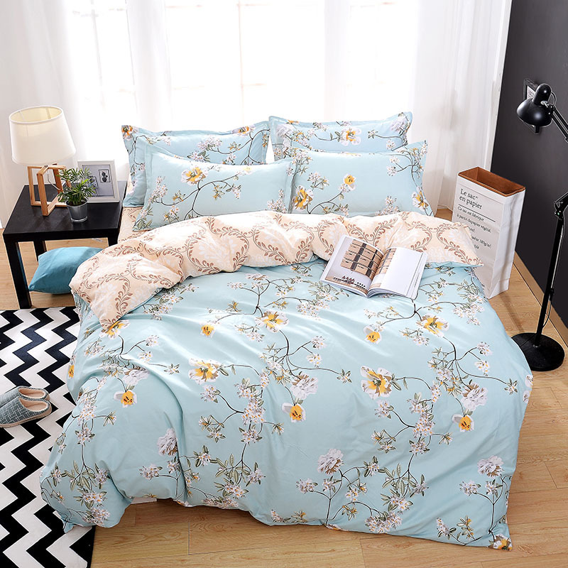 Solstice Home Textile Queen Twin Bed Linen Suit Girl Teen Adult Woman Bedding Set Flower Decorative Duvet Cover Sheet Pillowcase